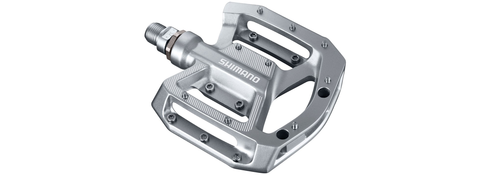 Shimano Flat pedal PD-GR500 flat pedal for riders that start on the Trail and All Mountain. This component of MTB incorporates screws (pins / bolts) adjustable in height and cromolyy axles sealed of low maintenance.
