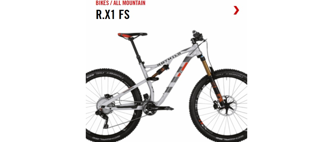 Bicicleta de doble suspensión / full suspension para ciclismo All mountain de aluminio Rotwild R.X1 FS 2017